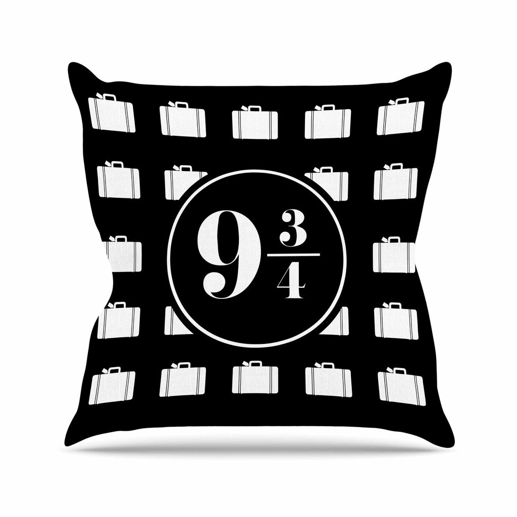 "Jackie Rose ""Platform Between 9 3/4"" Black White Outdoor Throw Pillow - KESS InHouse  - 1"