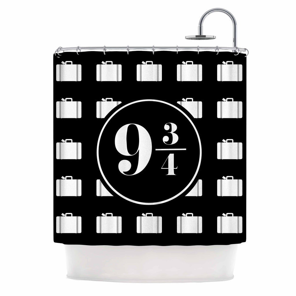 "Jackie Rose ""Platform Between 9 3/4"" Black White Shower Curtain - KESS InHouse"
