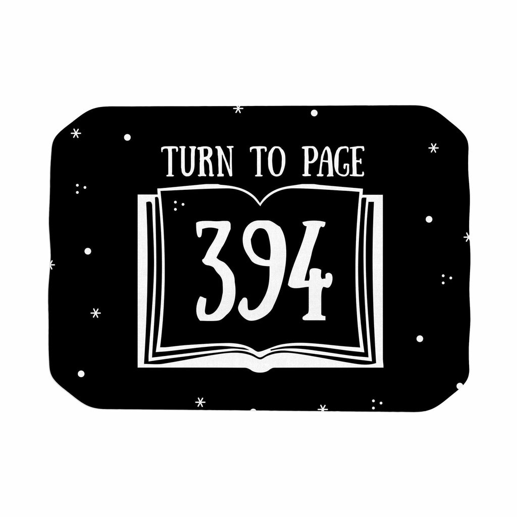 "Jackie Rose ""Turn To Page 394"" Black Pop Art Place Mat - KESS InHouse"