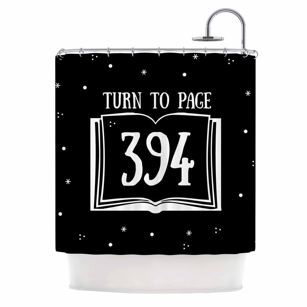 "Jackie Rose ""Turn To Page 394"" Black Pop Art Shower Curtain - KESS InHouse"