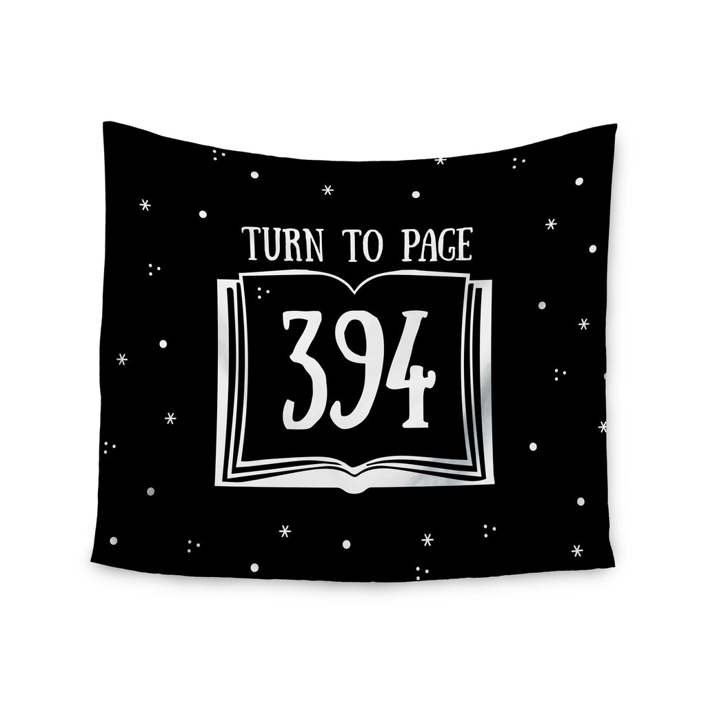 "Jackie Rose ""Turn To Page 394"" Black Pop Art Wall Tapestry - KESS InHouse  - 1"
