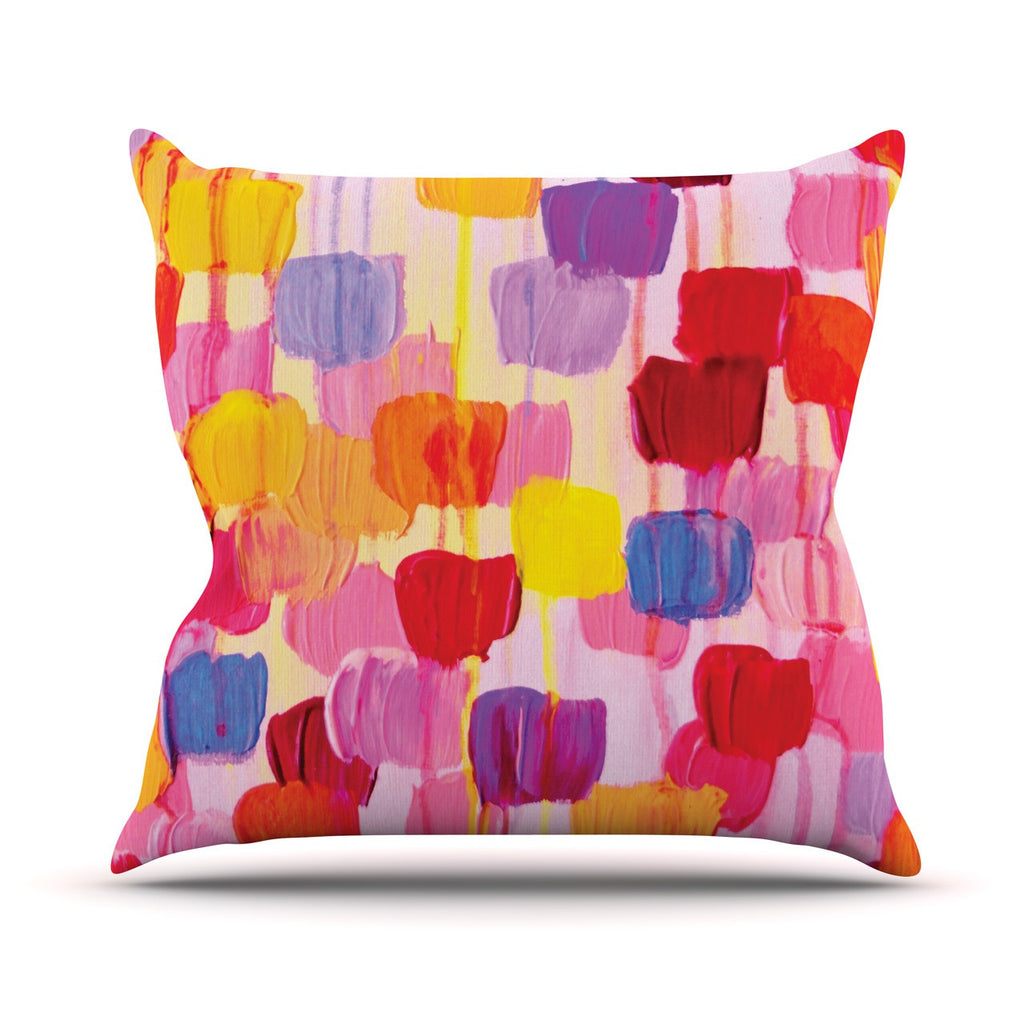 "Ebi Emporium ""Dotty in Pink"" Outdoor Throw Pillow - KESS InHouse  - 1"