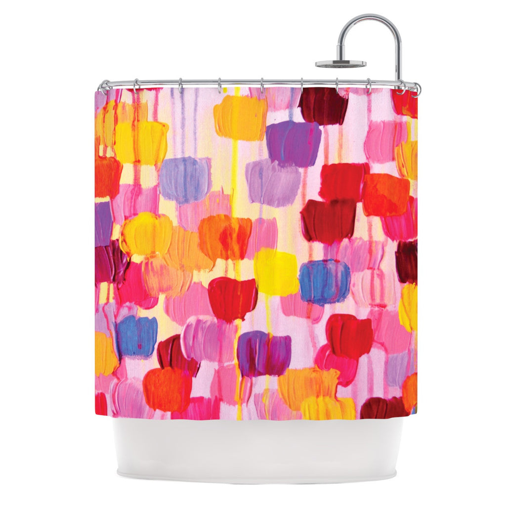 "Ebi Emporium ""Dotty in Pink"" Shower Curtain - KESS InHouse"