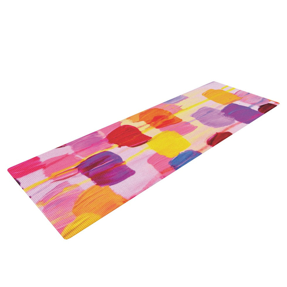 "Ebi Emporium ""Dotty in Pink"" Yoga Mat - KESS InHouse  - 1"