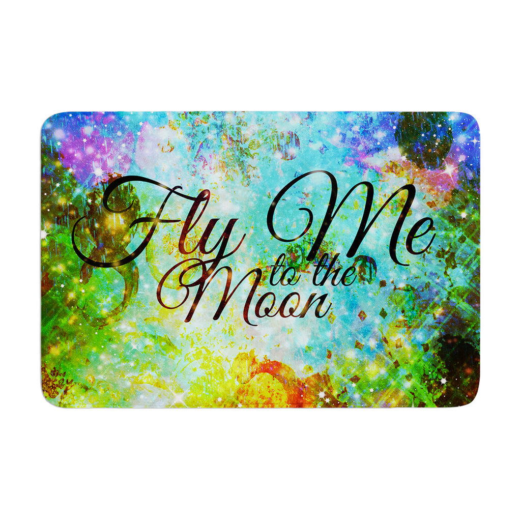 "Ebi Emporium ""Fly Me To The Moon"" Green Blue Memory Foam Bath Mat - KESS InHouse"
