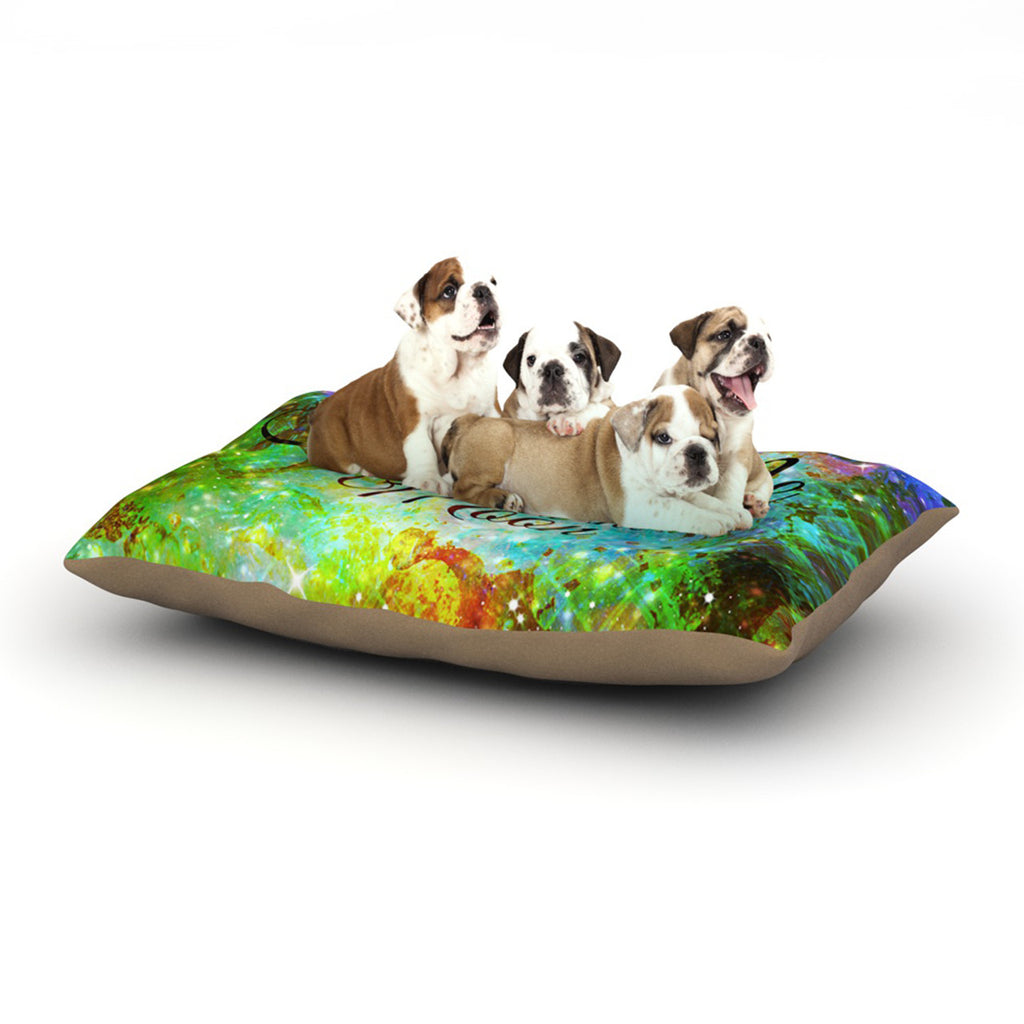 "Ebi Emporium ""Fly Me To The Moon"" Green Blue Dog Bed - KESS InHouse  - 1"