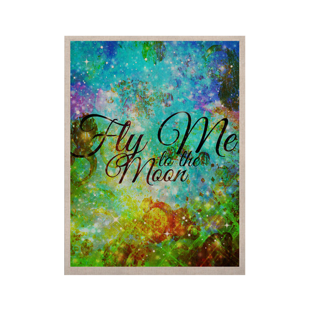 "Ebi Emporium ""Fly Me To The Moon"" Green Blue KESS Naturals Canvas (Frame not Included) - KESS InHouse  - 1"