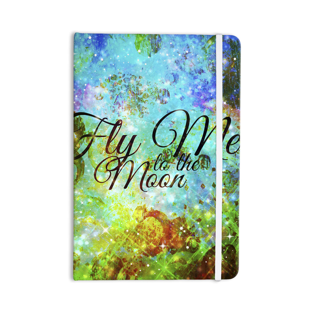 "Ebi Emporium ""Fly Me To The Moon"" Green Blue Everything Notebook - KESS InHouse  - 1"