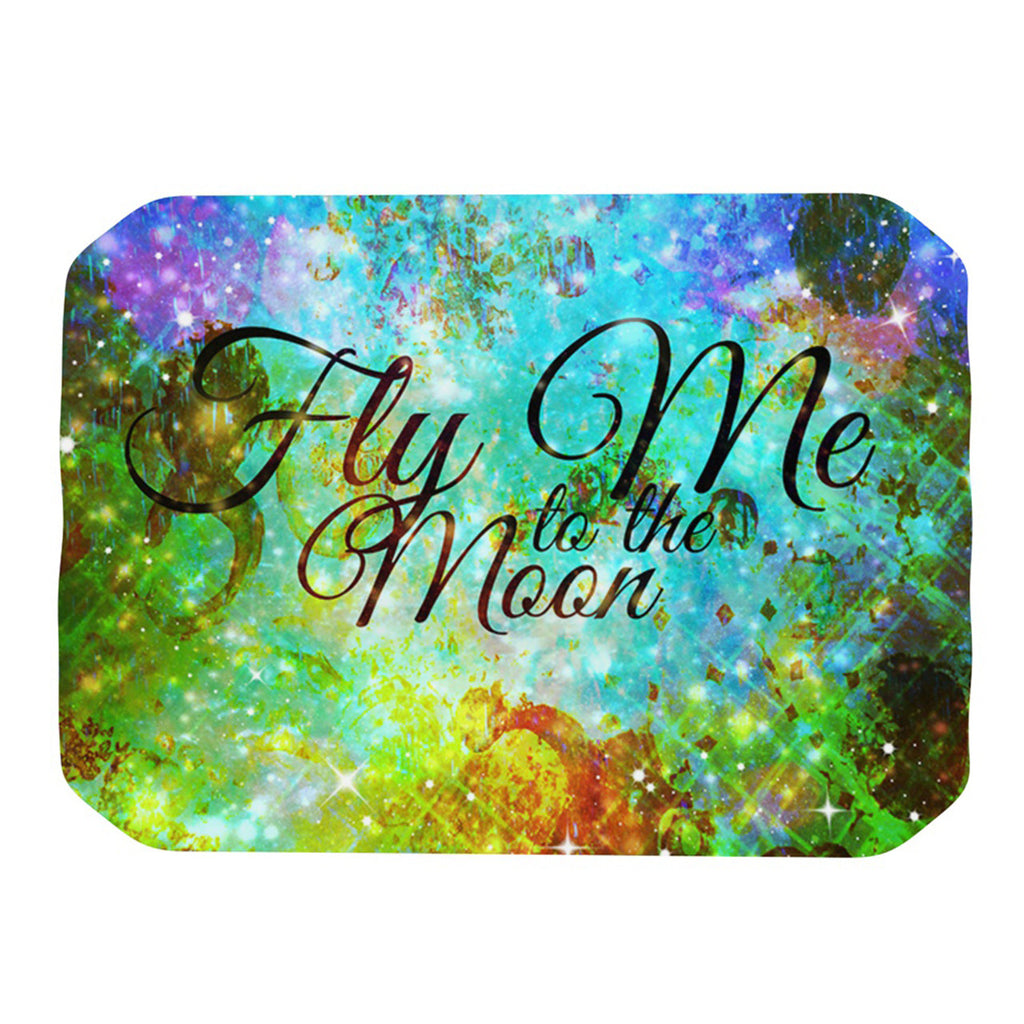"Ebi Emporium ""Fly Me To The Moon"" Green Blue Place Mat - KESS InHouse"