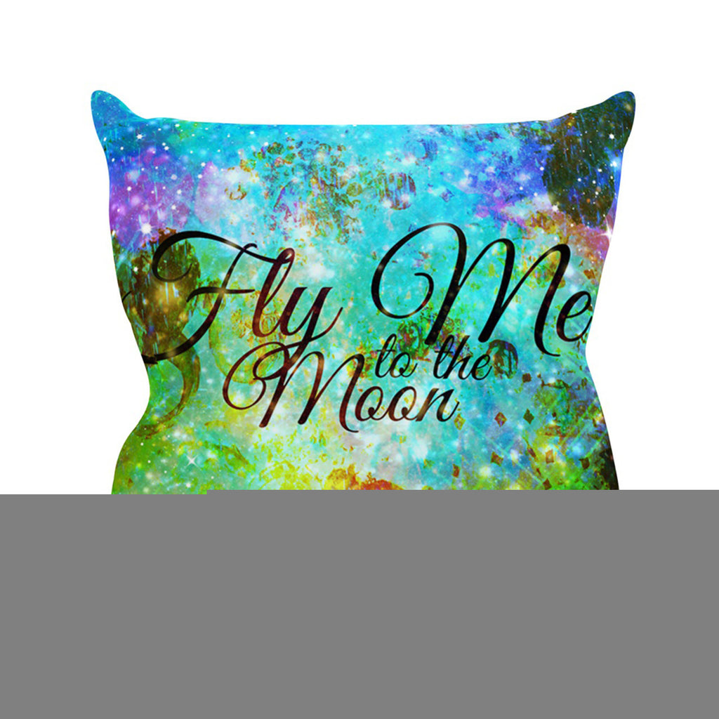 "Ebi Emporium ""Fly Me To The Moon"" Green Blue Outdoor Throw Pillow - KESS InHouse  - 1"