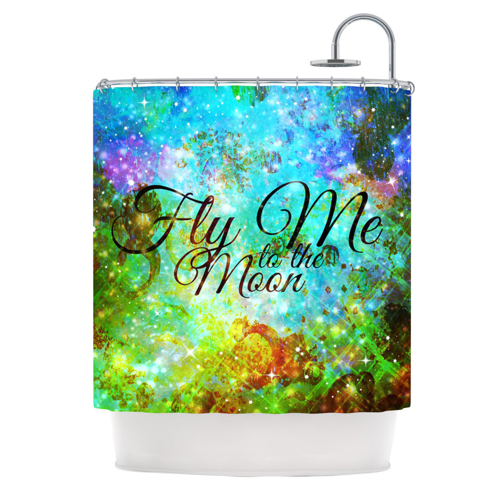 "Ebi Emporium ""Fly Me To The Moon"" Green Blue Shower Curtain - KESS InHouse"