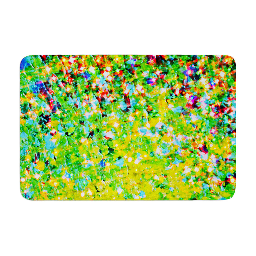 "Ebi Emporium ""Holiday Cheer"" Yellow Green Memory Foam Bath Mat - KESS InHouse"