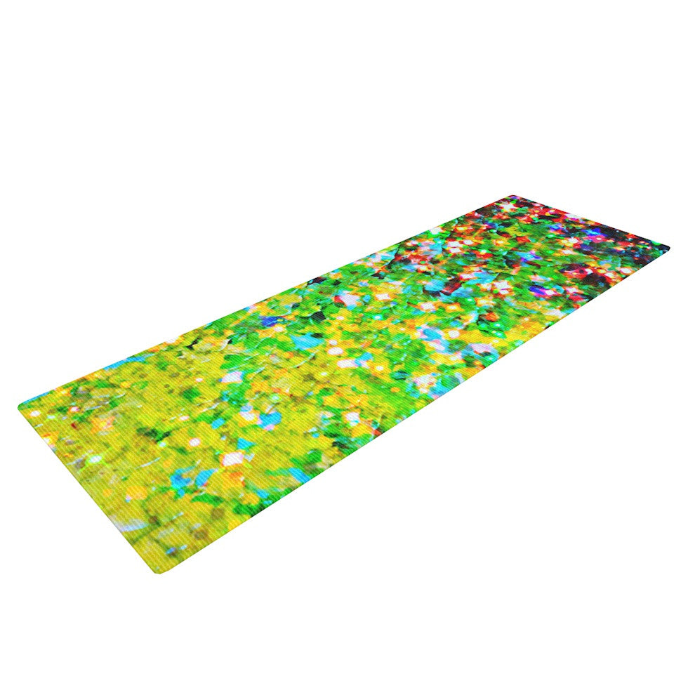 "Ebi Emporium ""Holiday Cheer"" Yellow Green Yoga Mat - KESS InHouse  - 1"