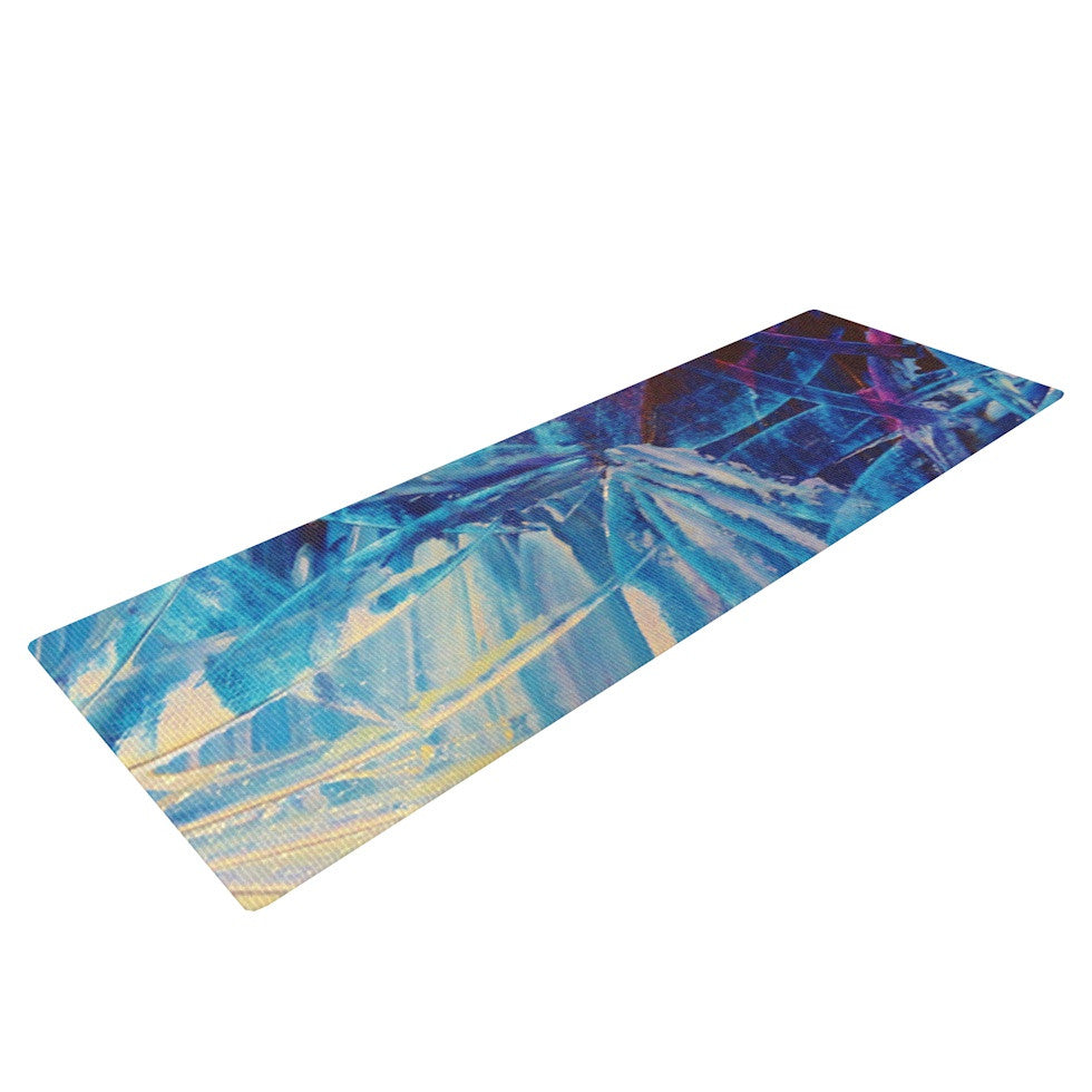 "Ebi Emporium ""Night Flowers"" Blue White Yoga Mat - KESS InHouse  - 1"