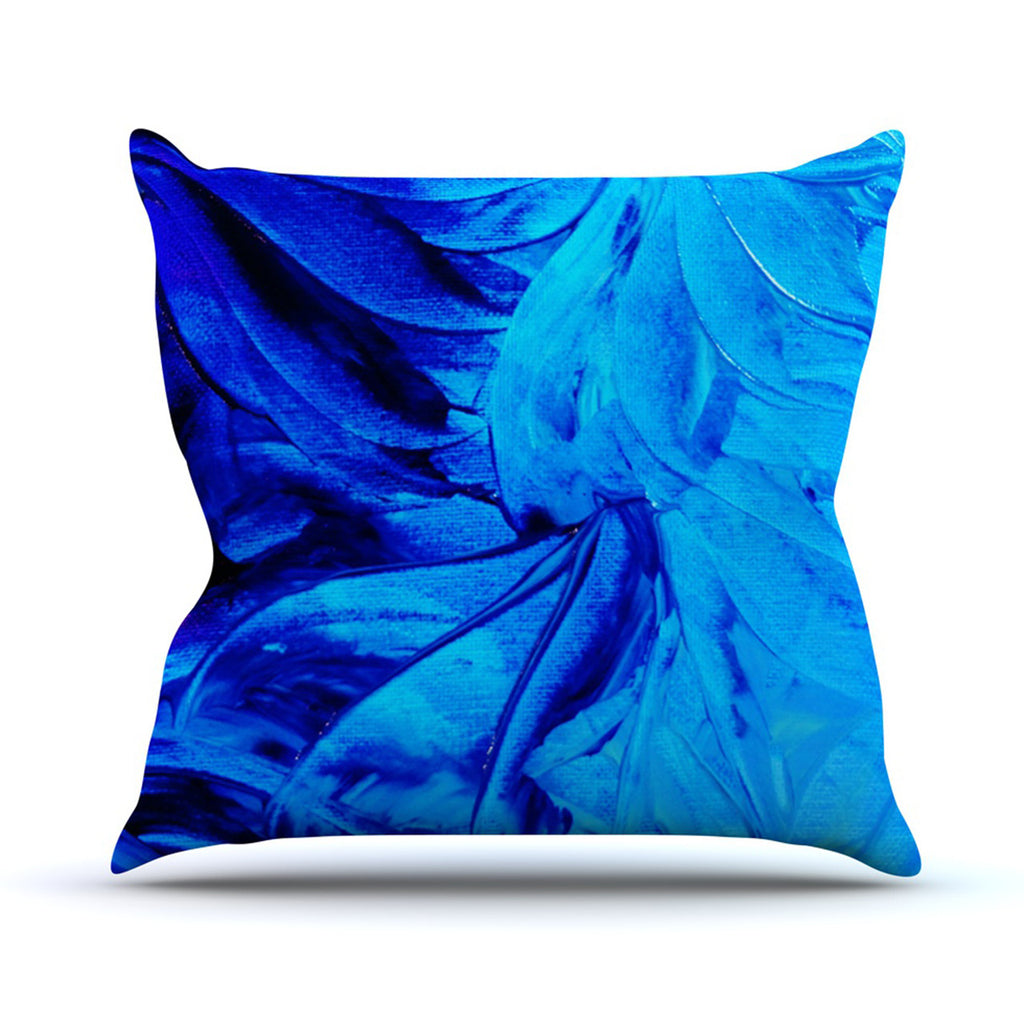 "Ebi Emporium ""Petal Pinwheels"" Blue Aqua Outdoor Throw Pillow - KESS InHouse  - 1"