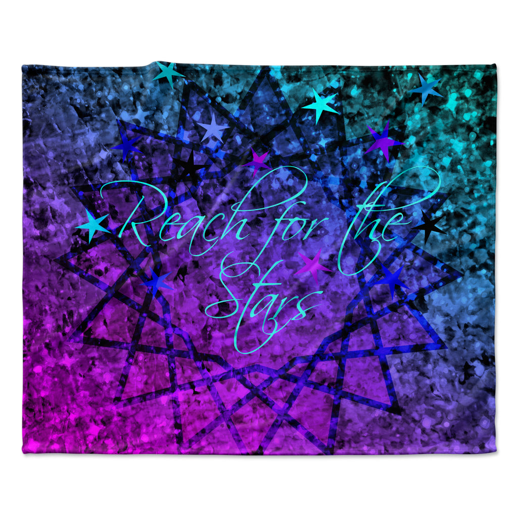 "Ebi Emporium ""Reach For The Stars"" Pink Teal Fleece Throw Blanket"