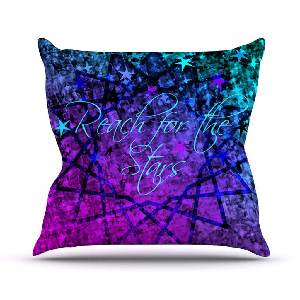 "Ebi Emporium ""Reach For The Stars"" Pink Teal Throw Pillow - KESS InHouse  - 1"