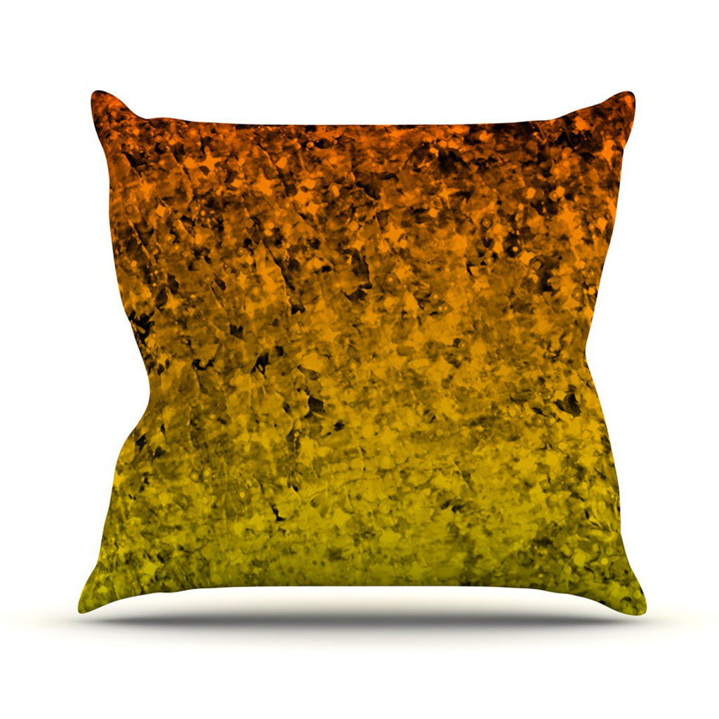 "Ebi Emporium ""Romance Me in Tangerine"" Gold Glitter Outdoor Throw Pillow - KESS InHouse  - 1"