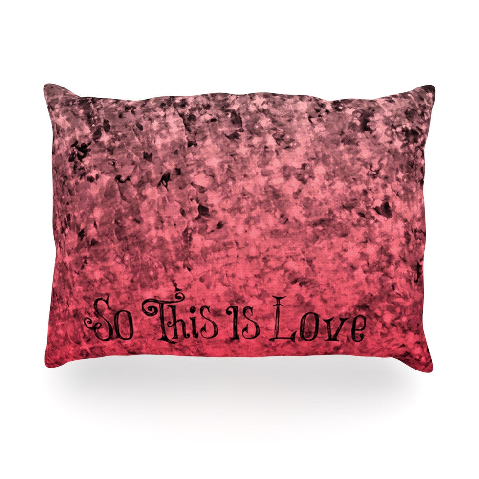 "Ebi Emporium ""So This Is Love"" Pink Glitter Oblong Pillow - KESS InHouse"