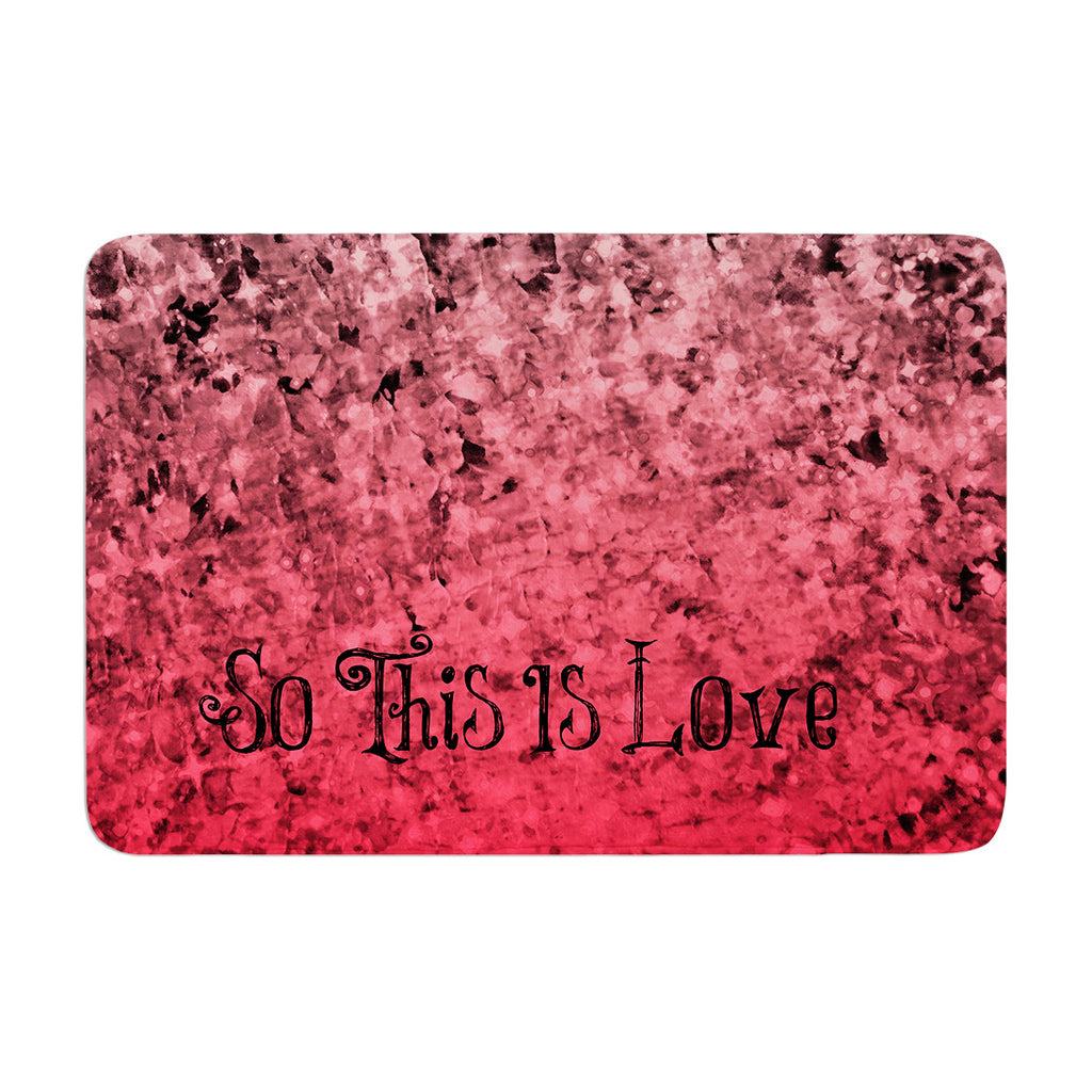 "Ebi Emporium ""So This Is Love"" Pink Glitter Memory Foam Bath Mat - KESS InHouse"