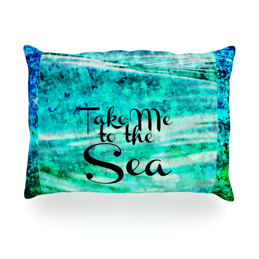 "Ebi Emporium ""Take Me to the Sea"" Aqua Glitter Oblong Pillow - KESS InHouse"