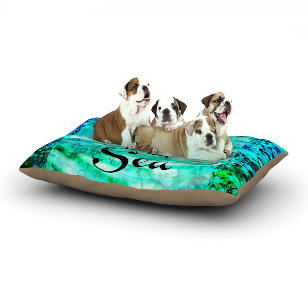 "Ebi Emporium ""Take Me to the Sea"" Aqua Glitter Dog Bed - KESS InHouse  - 1"