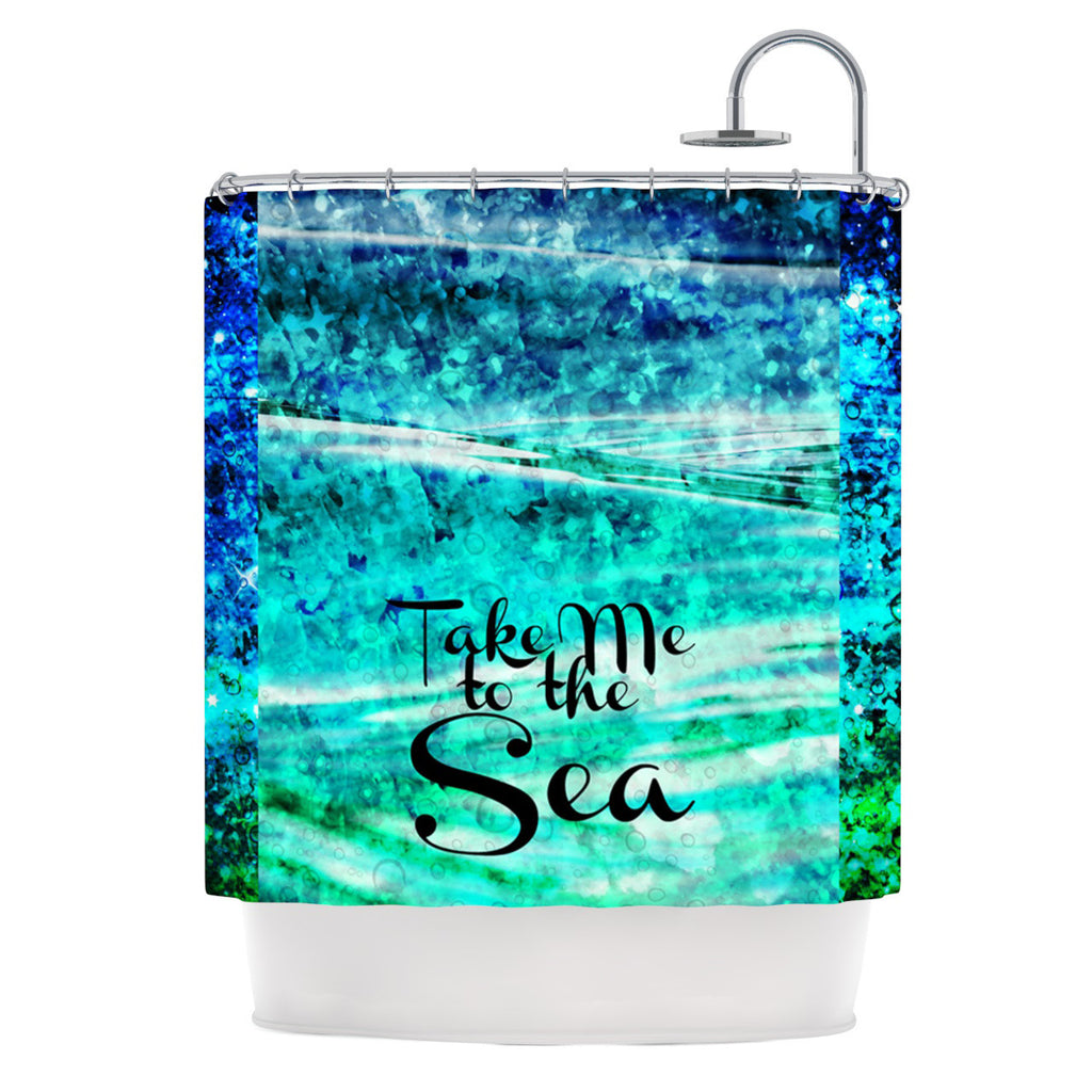 "Ebi Emporium ""Take Me to the Sea"" Aqua Glitter Shower Curtain - KESS InHouse"