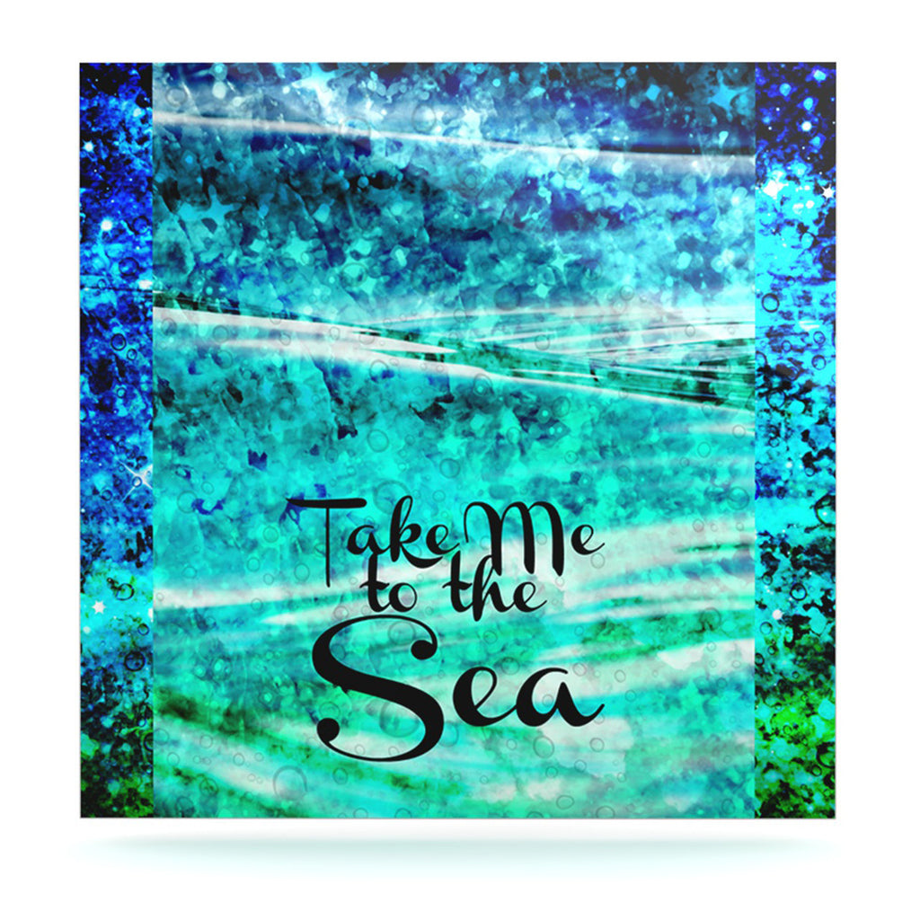 "Ebi Emporium ""Take Me to the Sea"" Aqua Glitter Luxe Square Panel - KESS InHouse  - 1"