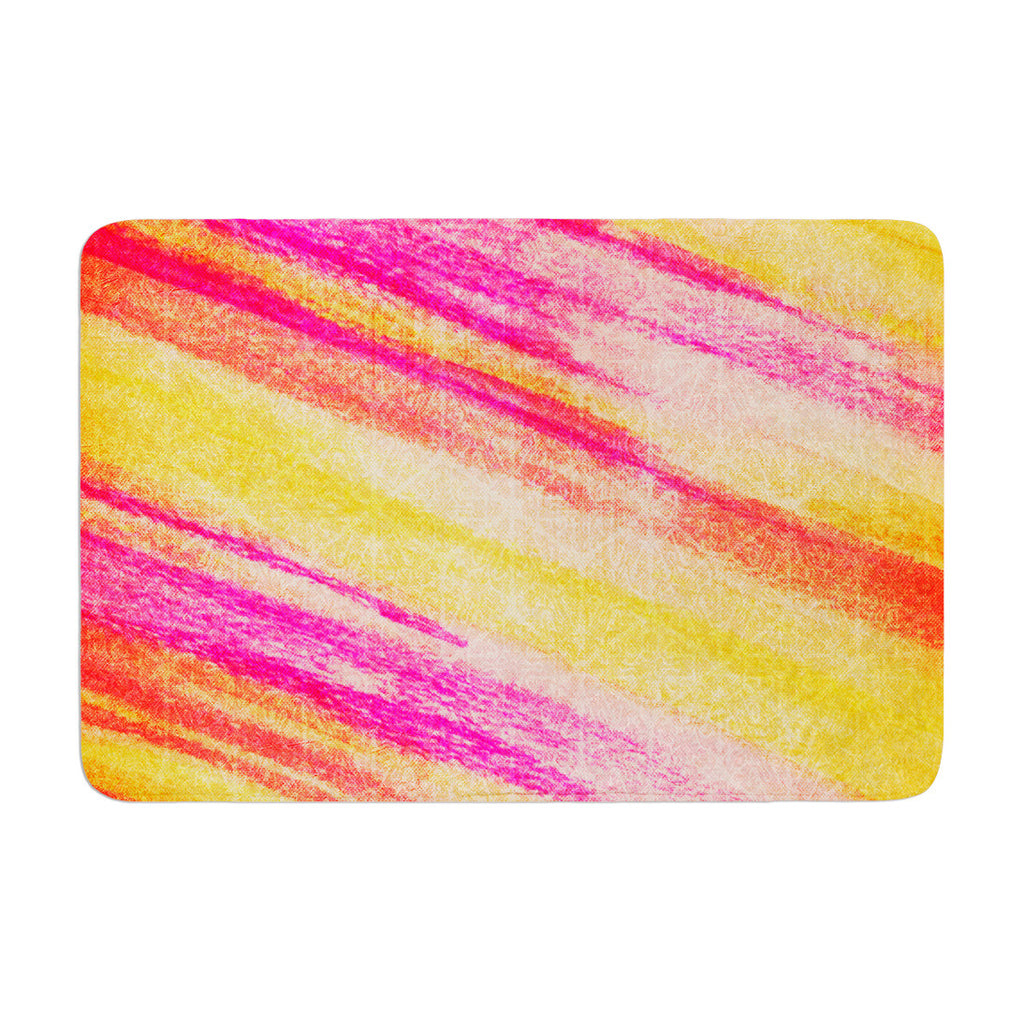 "Ebi Emporium ""All That Jazz"" Yellow Pink Memory Foam Bath Mat - KESS InHouse"
