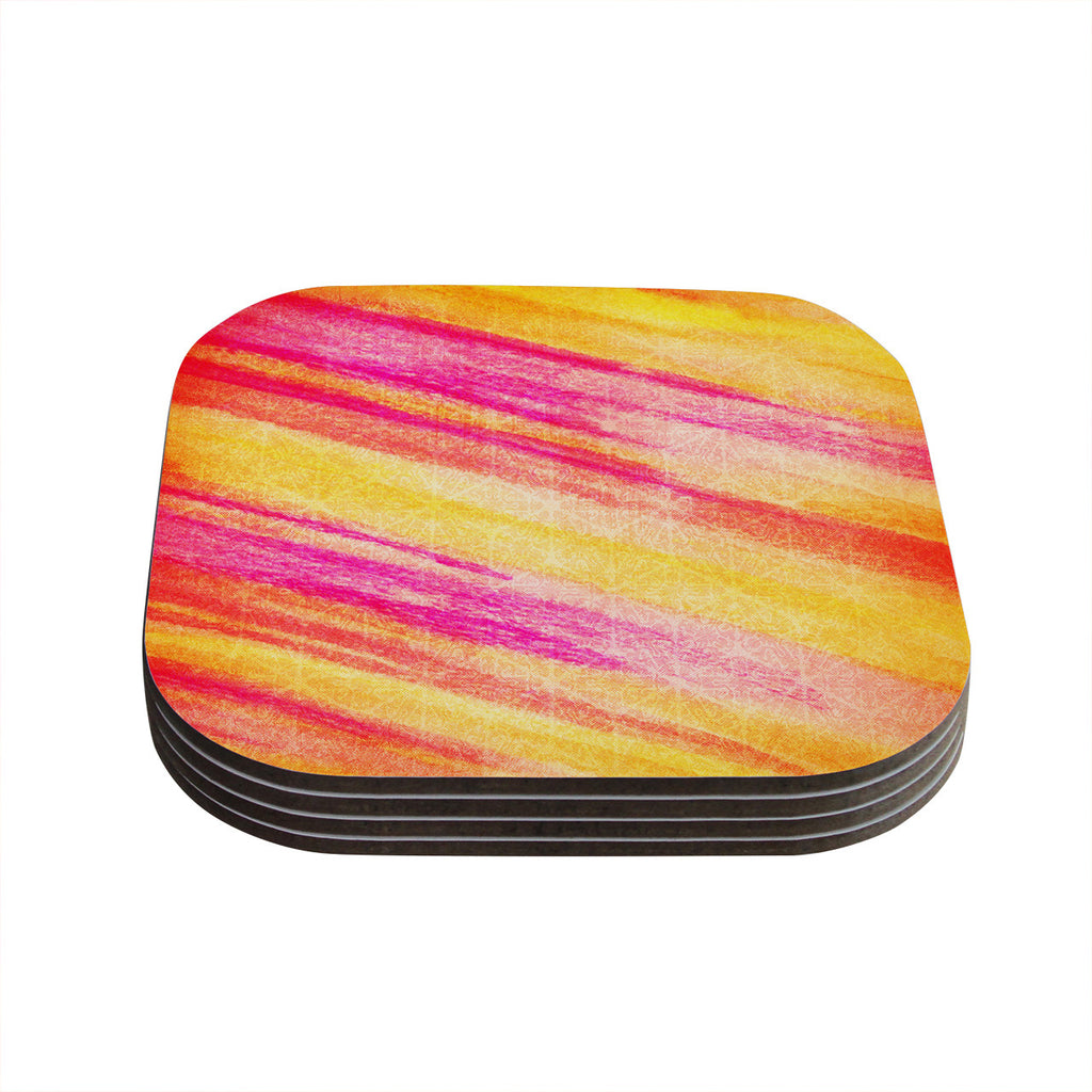 "Ebi Emporium ""All That Jazz"" Yellow Pink Coasters (Set of 4)"