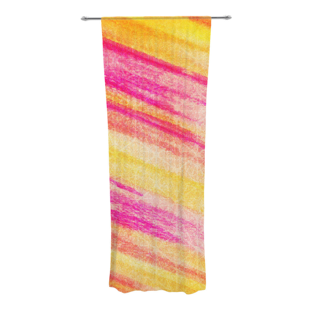 "Ebi Emporium ""All That Jazz"" Yellow Pink Decorative Sheer Curtain - KESS InHouse  - 1"