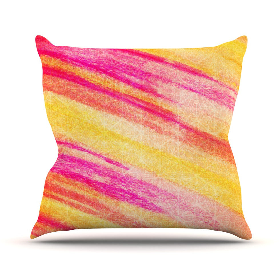 "Ebi Emporium ""All That Jazz"" Yellow Pink Outdoor Throw Pillow - KESS InHouse  - 1"