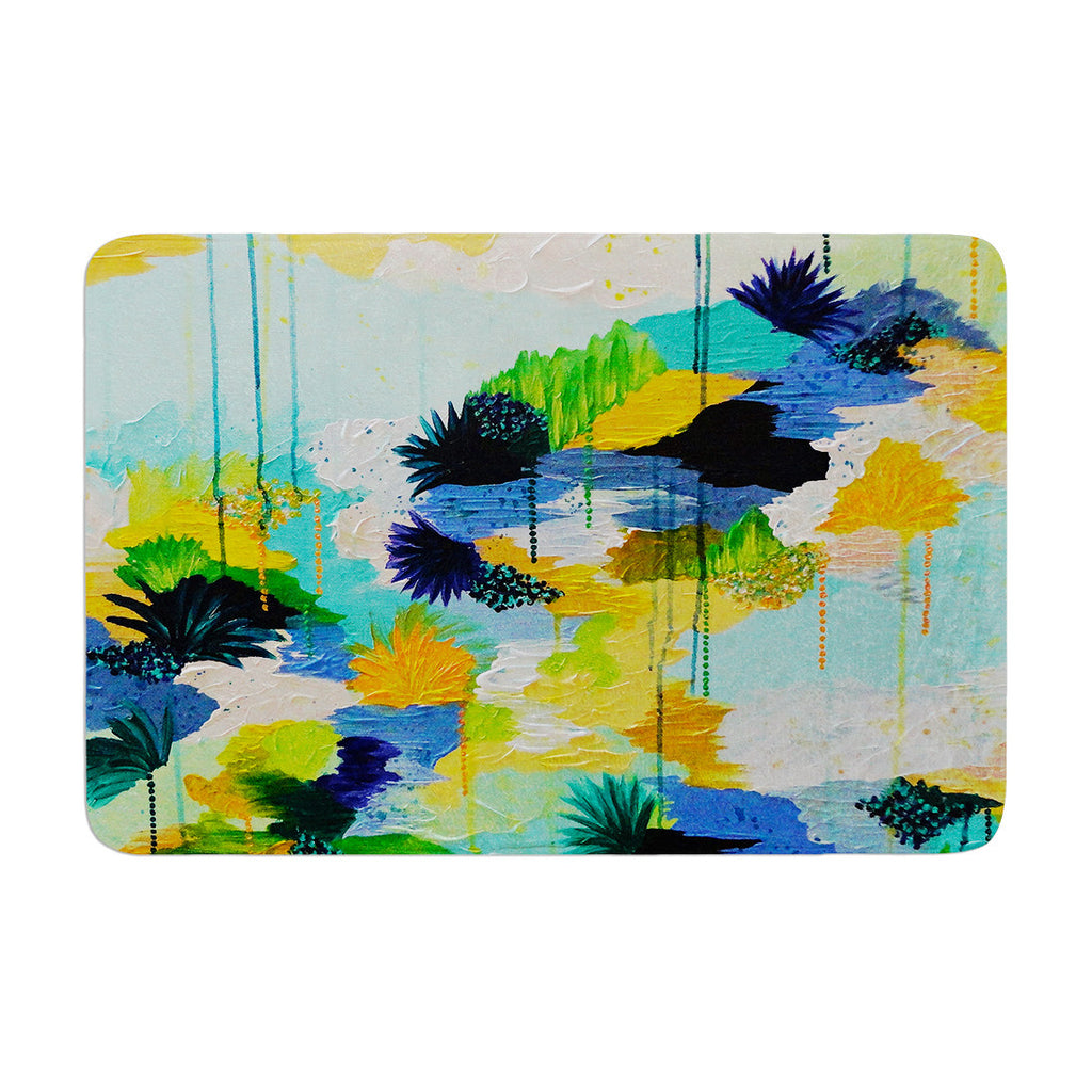 "Ebi Emporium ""Journey to Paradise"" Yellow Aqua Memory Foam Bath Mat - KESS InHouse"
