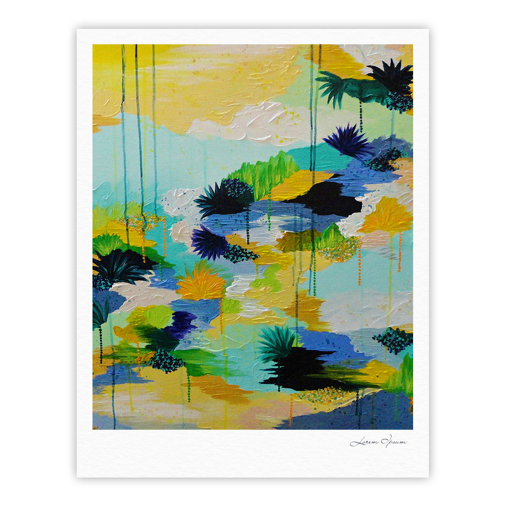 "Ebi Emporium ""Journey to Paradise"" Yellow Aqua Fine Art Gallery Print - KESS InHouse"