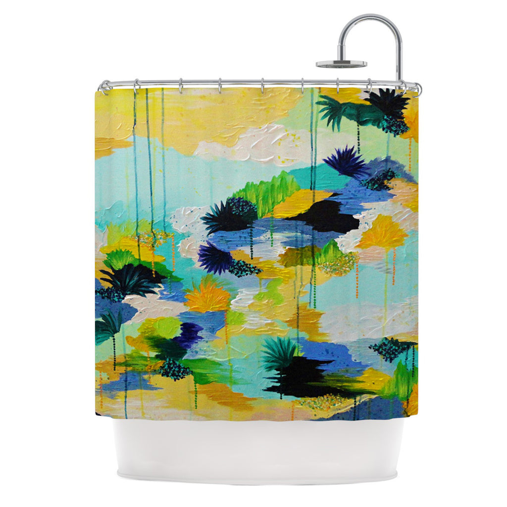 "Ebi Emporium ""Journey to Paradise"" Yellow Aqua Shower Curtain - KESS InHouse"