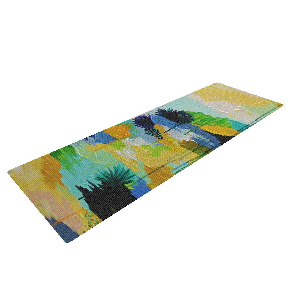 "Ebi Emporium ""Journey to Paradise"" Yellow Aqua Yoga Mat - KESS InHouse  - 1"