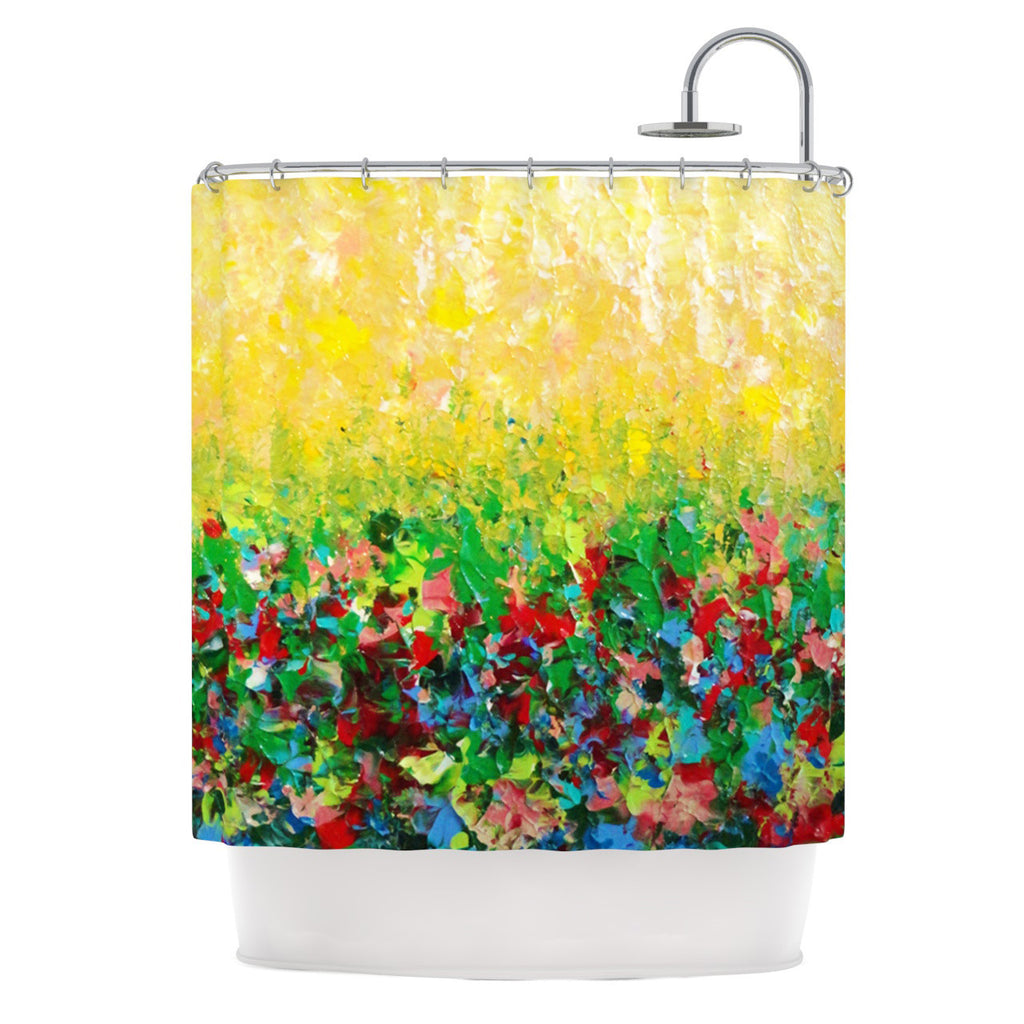 "Ebi Emporium ""My Paintings"" Yellow Multicolor Shower Curtain - KESS InHouse"