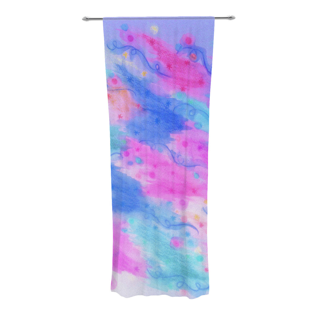 "Ebi Emporium ""Seeing Stars II"" Blue Pink Decorative Sheer Curtain - KESS InHouse  - 1"