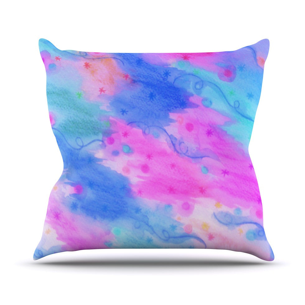 "Ebi Emporium ""Seeing Stars II"" Blue Pink Outdoor Throw Pillow - KESS InHouse  - 1"