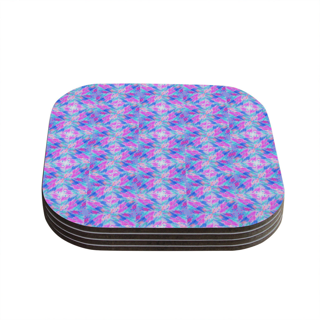 "Ebi Emporium ""Seeing Stars"" Blue Pink Coasters (Set of 4)"