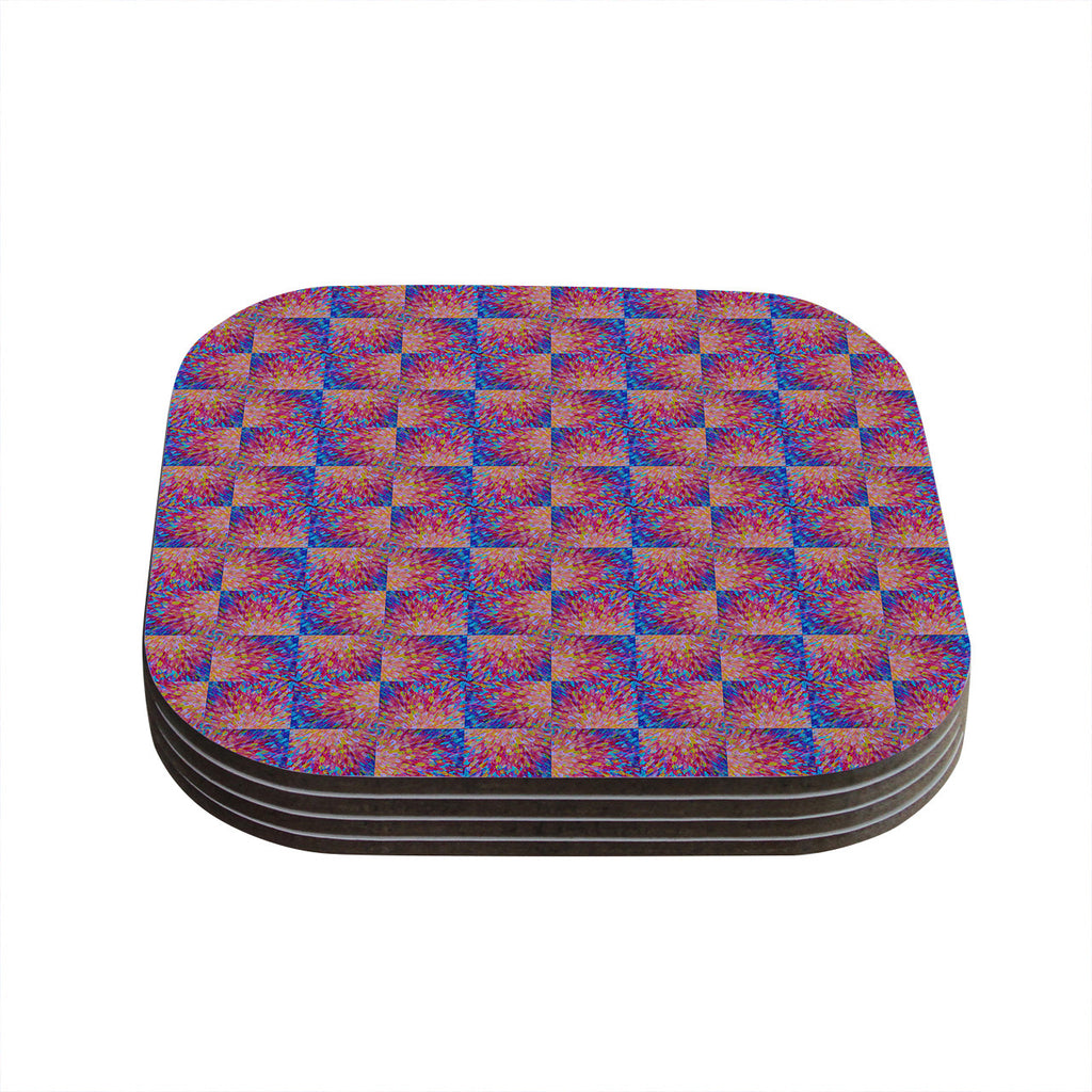 "Ebi Emporium ""Splash Revisited"" Maroon Blue Coasters (Set of 4)"