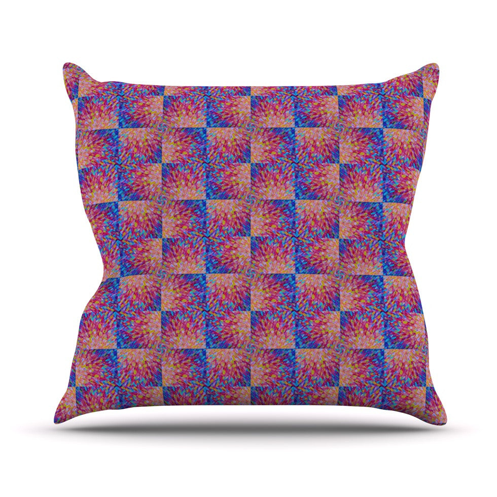 "Ebi Emporium ""Splash Revisited"" Maroon Blue Outdoor Throw Pillow - KESS InHouse  - 1"