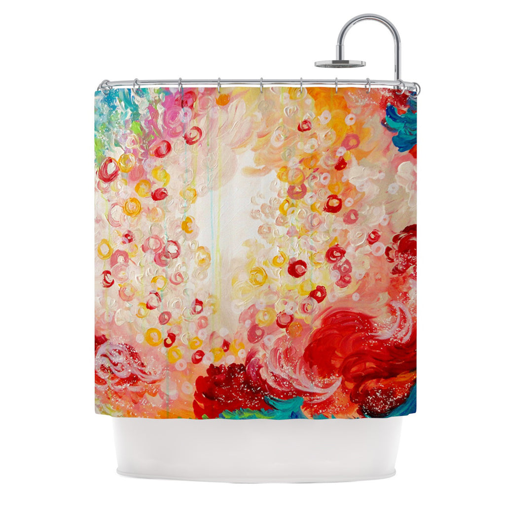 "Ebi Emporium ""Summer Days"" Red Tan Shower Curtain - KESS InHouse"