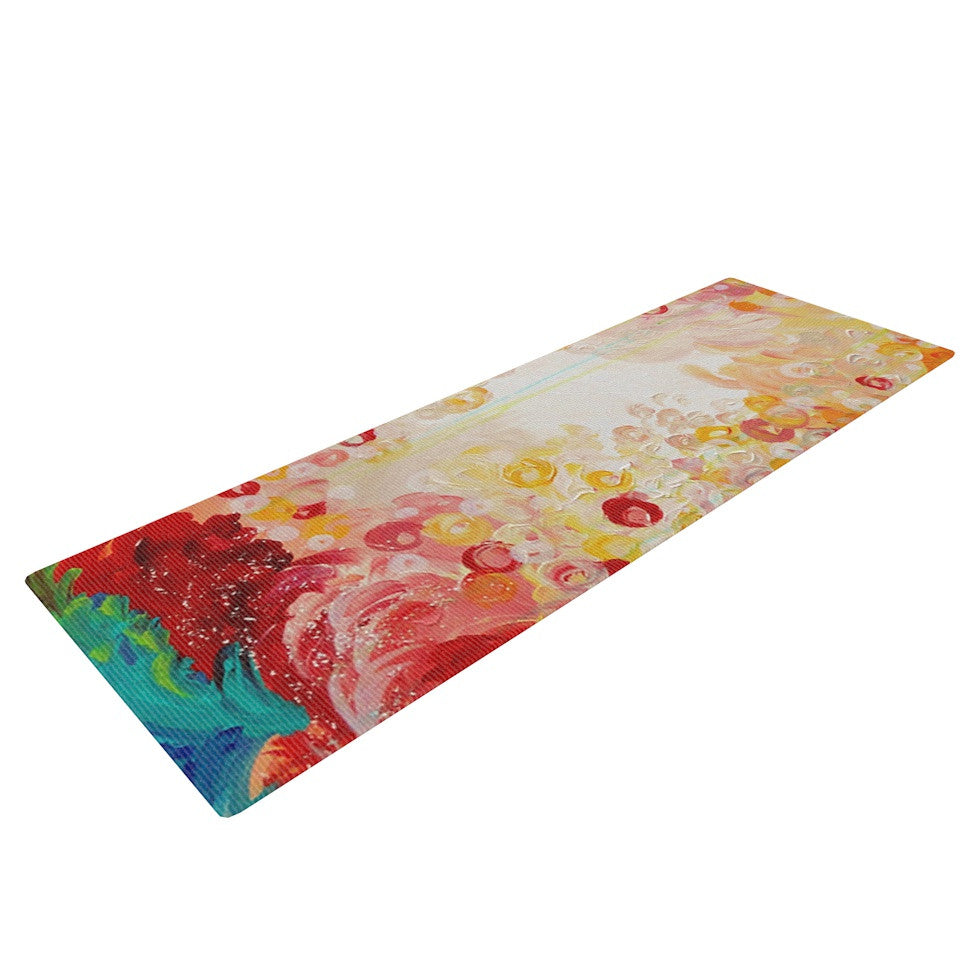 "Ebi Emporium ""Summer Days"" Red Tan Yoga Mat - KESS InHouse  - 1"