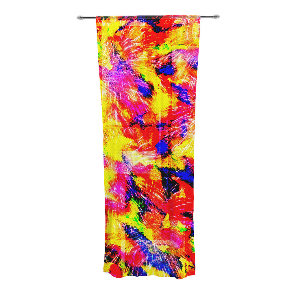 "Ebi Emporium ""The Flock"" Yellow Red Decorative Sheer Curtain - KESS InHouse  - 1"