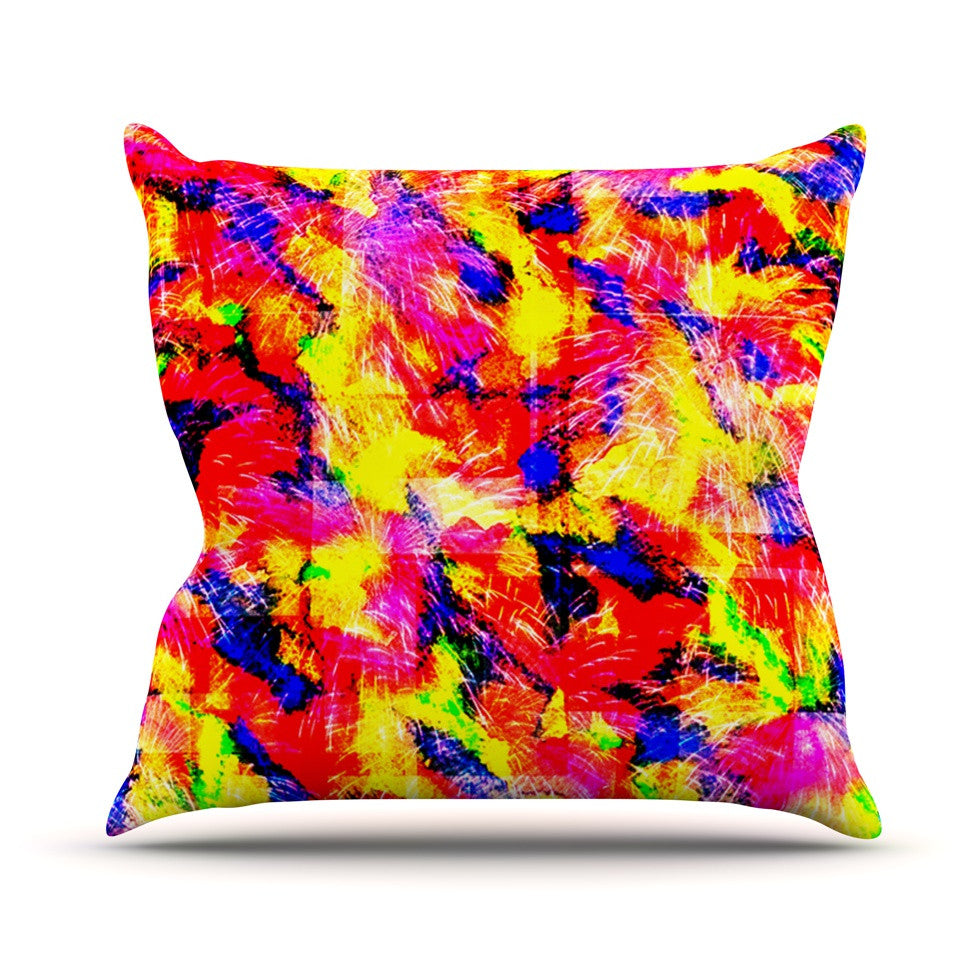 "Ebi Emporium ""The Flock"" Yellow Red Throw Pillow - KESS InHouse  - 1"