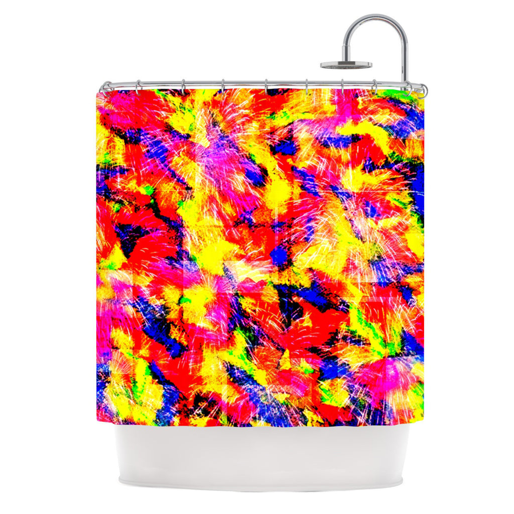 "Ebi Emporium ""The Flock"" Yellow Red Shower Curtain - KESS InHouse"