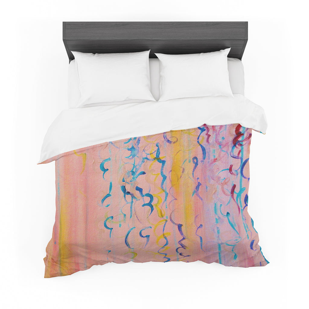 "Ebi Emporium ""Cotton Candy Whispers"" Pink Painting Featherweight Duvet Cover"