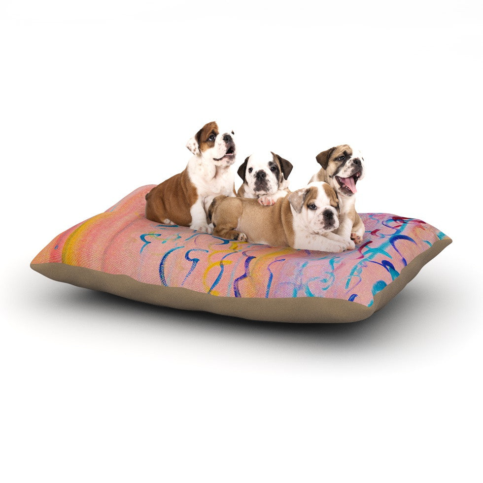 "Ebi Emporium ""Cotton Candy Whispers"" Pink Painting Dog Bed - KESS InHouse  - 2"