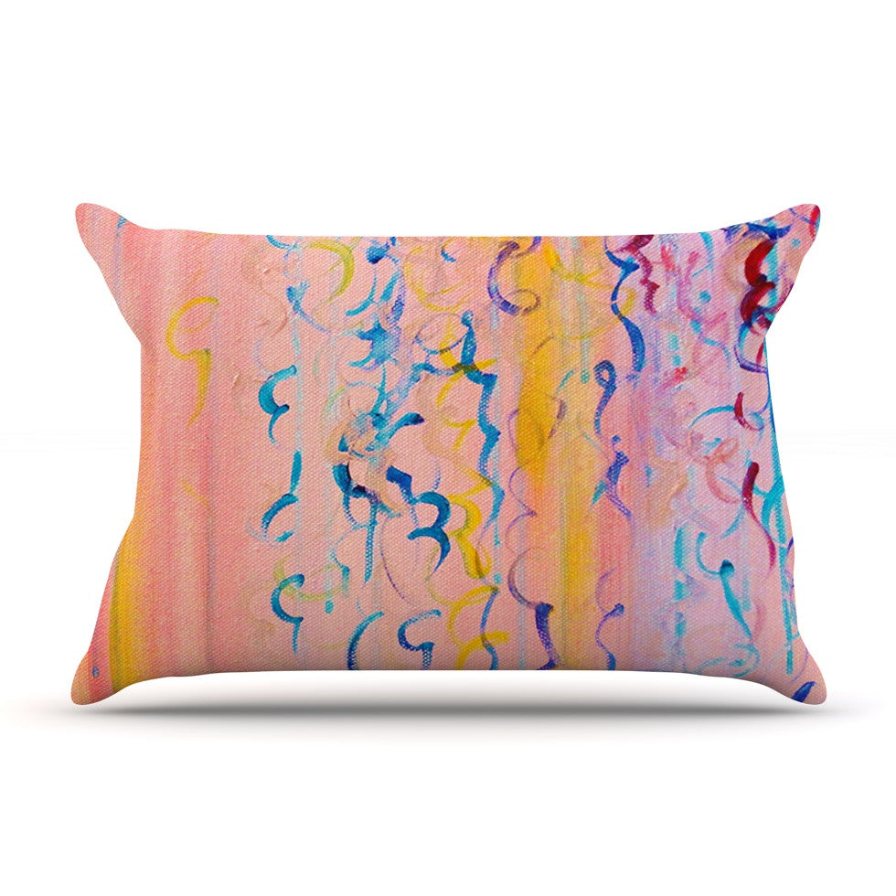 "Ebi Emporium ""Cotton Candy Whispers"" Pink Painting Pillow Sham - KESS InHouse"